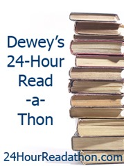 24 hour readthon with book pile
